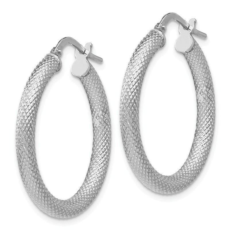 Leslie's Leslie's Sterling Silver Textured Hinged Hoop Earrings