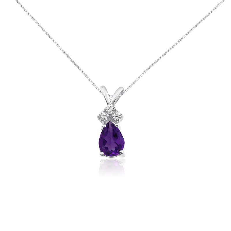 Color Merchants 14k White Gold 7X5 Amethyst  Pear Pendant with Diamonds