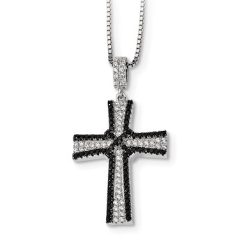 Sterling Silver Black & White CZ Brilliant Embers Polished Cross Necklace
