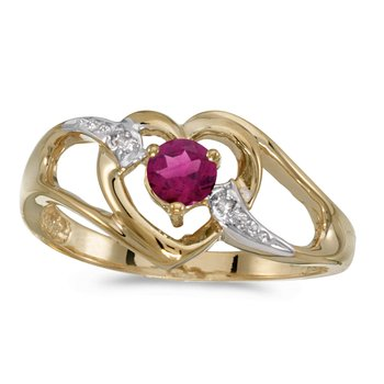 10k Yellow Gold Round Rhodolite Garnet And Diamond Heart Ring