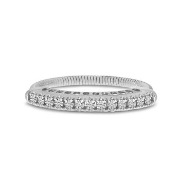 14K White Gold Stretch Diamond Band Comfort Ring (.25 ct) 4-Prong Setting