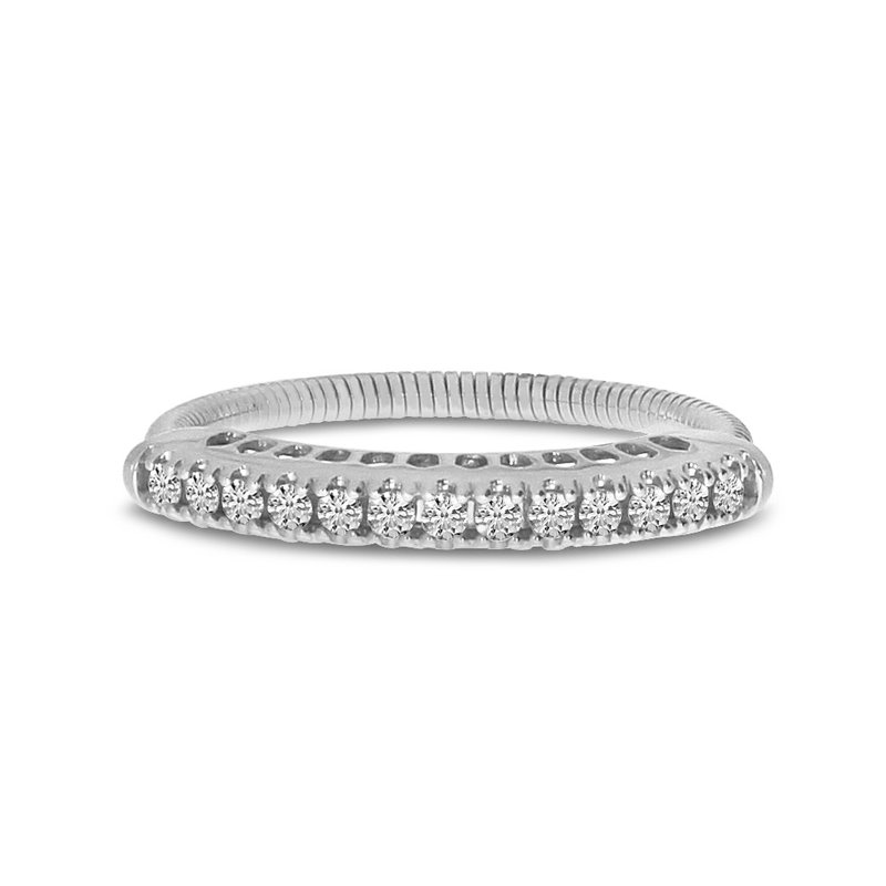 Color Merchants 14K White Gold Stretch Diamond Band Comfort Ring (.25 ct) 4-Prong Setting
