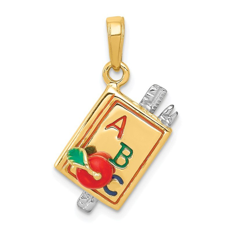 Quality Gold 14k Two-tone 3-D Enameled ABC School Book Pendant