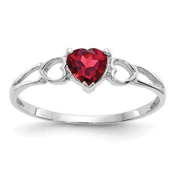 14k White Gold Garnet Birthstone Ring