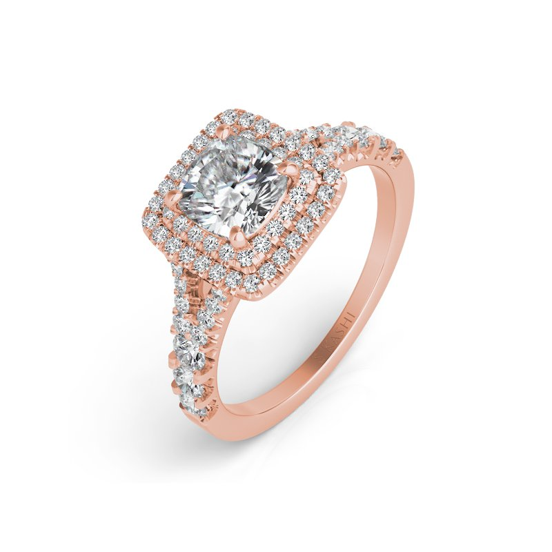 S. Kashi  & Sons Rose Gold Pave Engagement Ring