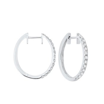 Prong Set Diamond Hoop Earrings in 14K White Gold (3/4 ct. tw.) SI2 - G/H