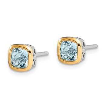 Sterling Silver w/ 14K Accent Aquamarine Square Stud Earrings