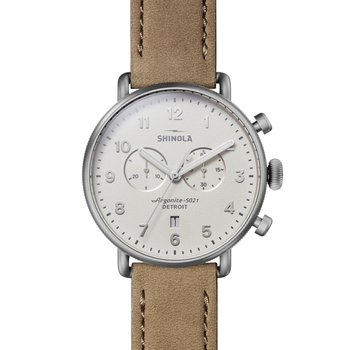 Canfield 2 Eye Chrono 43mm, Oatmeal Leather Strap