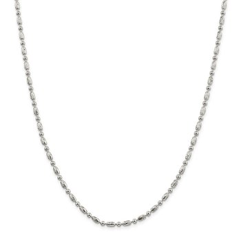 Sterling Silver 3mm Polished and Textured Fancy Beaded Chain Anklet