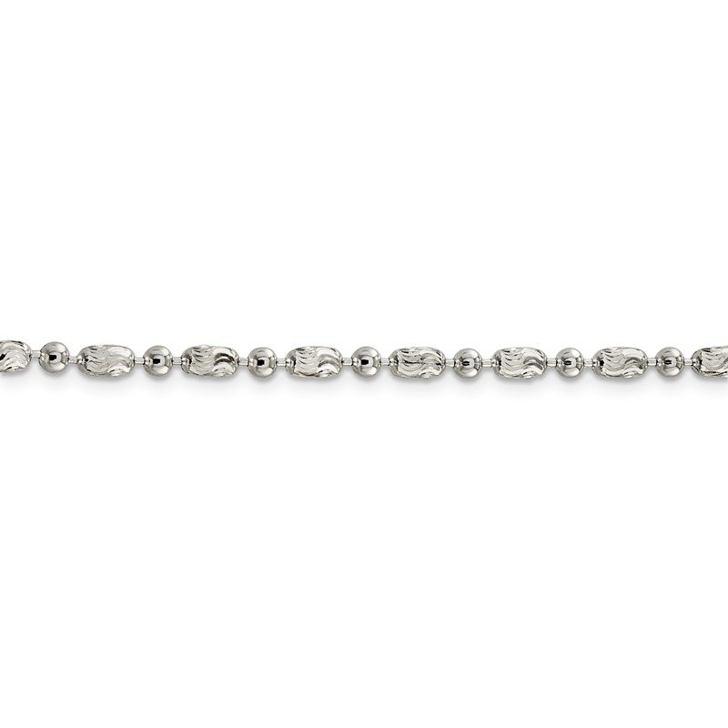 Quality Gold Sterling Silver 3mm Polished and Textured Fancy Beaded Chain Anklet