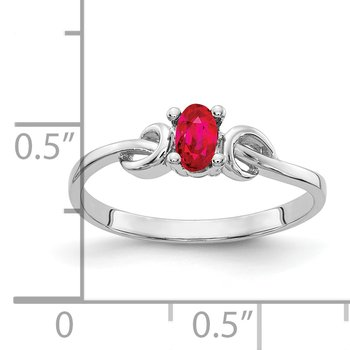 14k White Gold 5x3mm Oval Ruby ring
