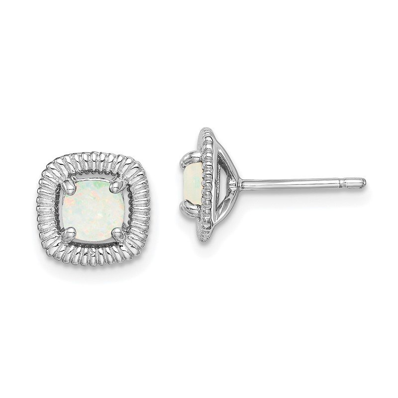 Quality Gold Sterling Silver Rhod-plat Milky Opal Square Post Earrings