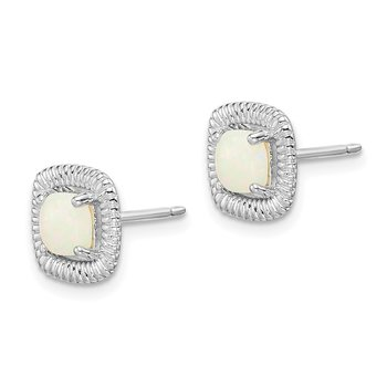 Sterling Silver Rhod-plat Milky Opal Square Post Earrings