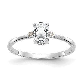10k White Gold Polished GeniuneDiamond/White Topaz Birthstone Ring