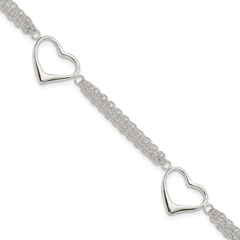 Quality Gold Sterling Silver Heart Bracelet