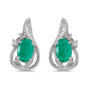 14k White Gold Oval Emerald And Diamond Teardrop Earrings
