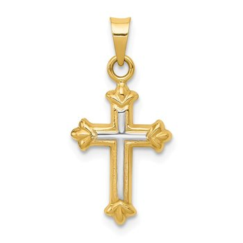 14k w/Rhodium Hollow Cross Charm