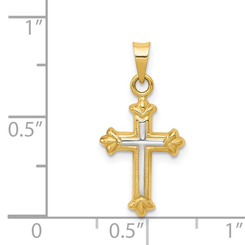 Quality Gold 14k w/Rhodium Hollow Cross Charm