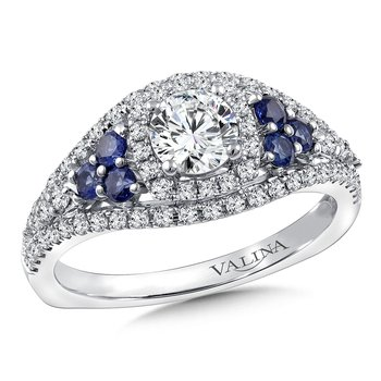 Diamond & Blue Sapphire Engagement Ring Mounting in 14k White/Rose Gold (.40 ct. tw.)