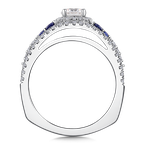 Valina Diamond & Blue Sapphire Engagement Ring Mounting in 14k White/Rose Gold (.40 ct. tw.)