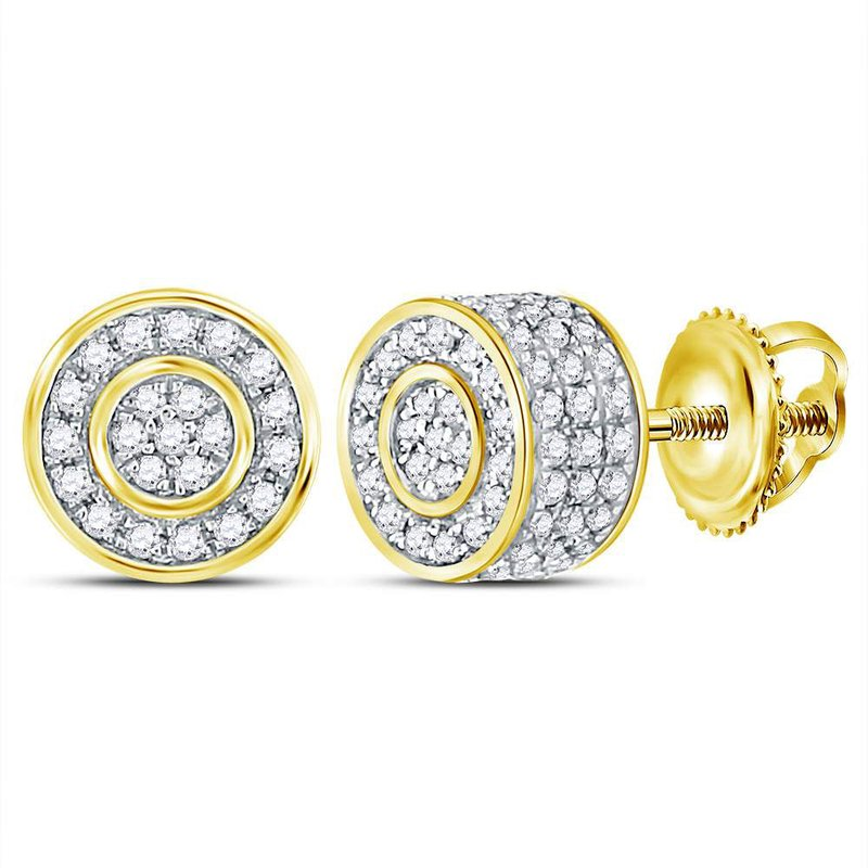 Kingdom Treasures 10kt Yellow Gold Mens Round Diamond 3D Cluster Stud Earrings 3/4 Cttw