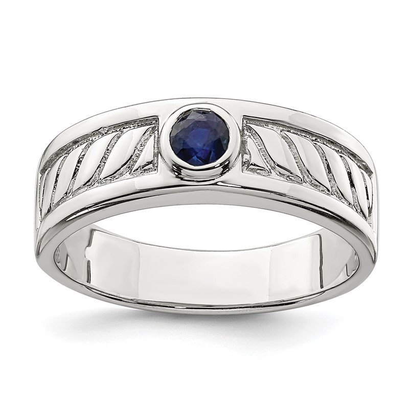 Quality Gold Sterling Silver Men's Blue Sapphire Ring