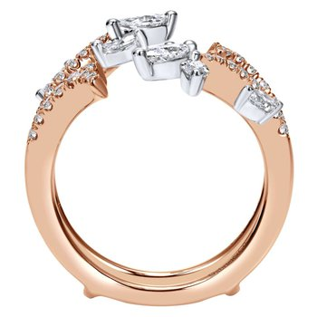 14k White/Rose Gold Marquise Contemporary Diamond Anniversary Band