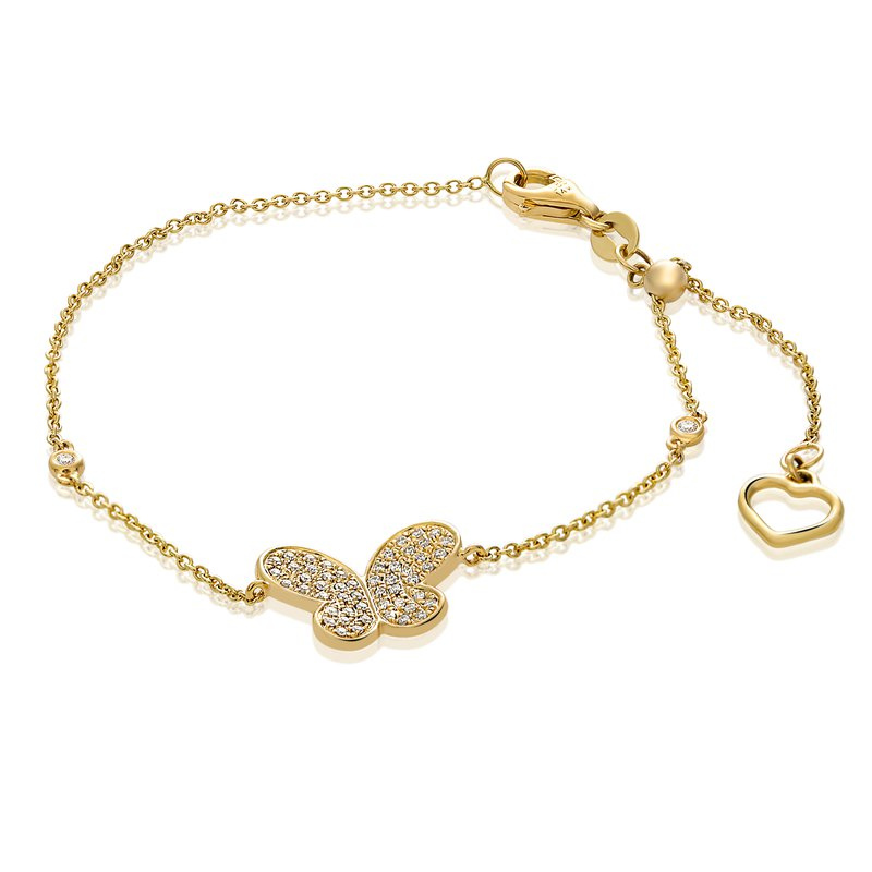 Roman & Jules Yellow Gold Butterfly Bracelet