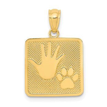 14k Gold Polished Textured Hand and Paw Print Square Pendant