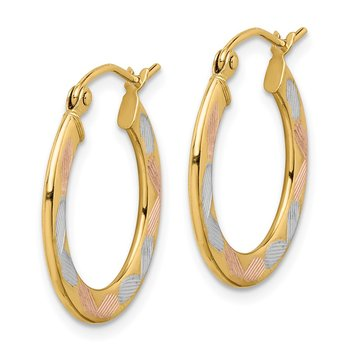 14k w/White & Rose Rhodium Diamond-cut Hoop Earrings