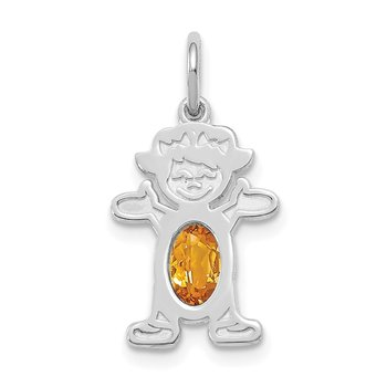 14K White Gold Girl 6x4 Oval Genuine Citrine-November