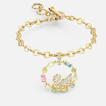 Rainbow Swan Bracelet, Multicolored, Gold-tone plated