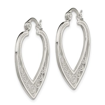 Sterling Silver Polished Filigree Hinged Hoop Earrings