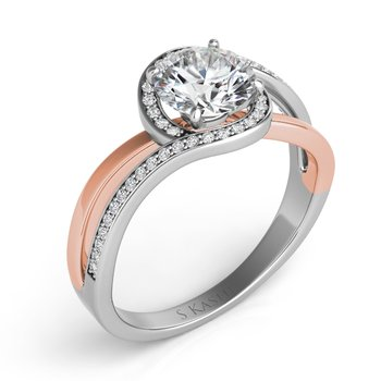 White & Rose Gold Engagement Ring