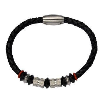 Steel Shine & Brush Bead in Black Leather Bracelet w/ Matte Clasp