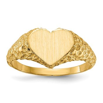 14k 7.5x8.0mm Open Back Heart Signet Ring