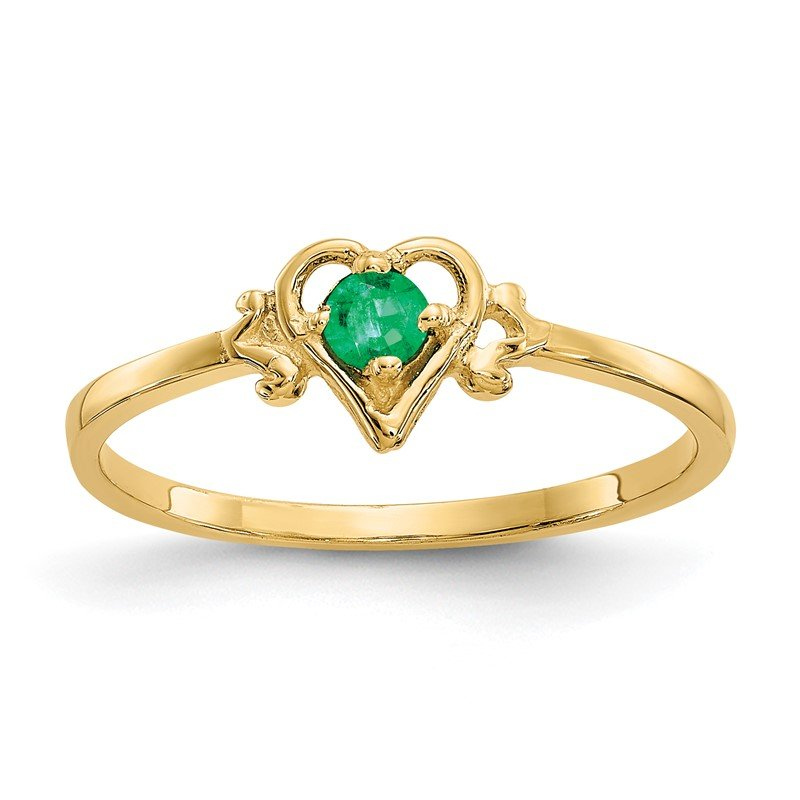 Quality Gold 14K Emerald Birthstone Heart Ring