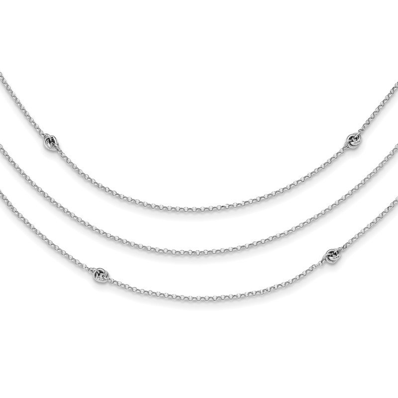Quality Gold Sterling Silver Rhodium-plated Love Knot Multi-Strand w/2in ext Necklace