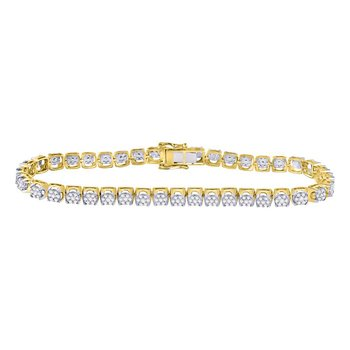 10kt Yellow Gold Mens Round Diamond Cluster Tennis Fashion Bracelet 3-1/3 Cttw