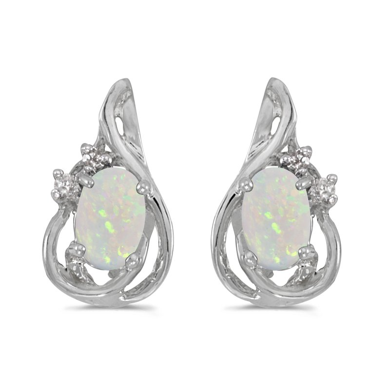 Color Merchants 14k White Gold Oval Opal And Diamond Teardrop Earrings