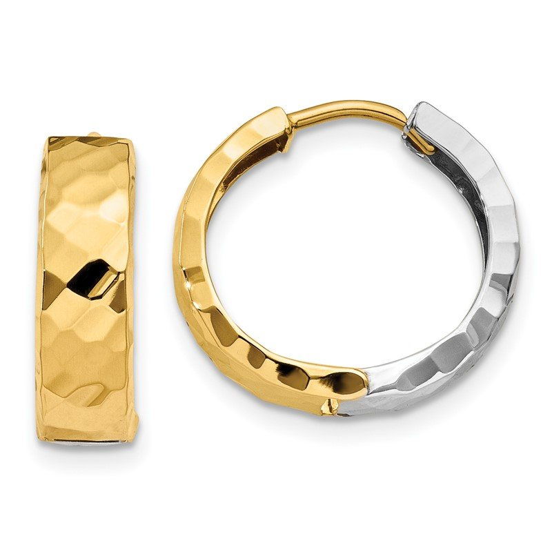 Quality Gold 14k Two-tone Textured Hinged Hoop Earrings