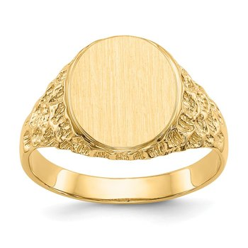 14k 12.5x10.5mm Open Back Men's Signet Ring