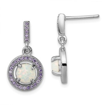Sterling Silver Rhodium-plated Created Opal Purple CZ Post Earrings