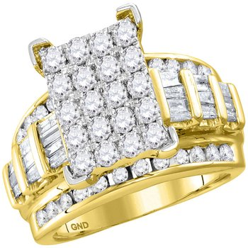 10kt Yellow Gold Womens Round Diamond Cindys Dream Cluster Bridal Wedding Engagement Ring 2.00 Cttw - Size 5