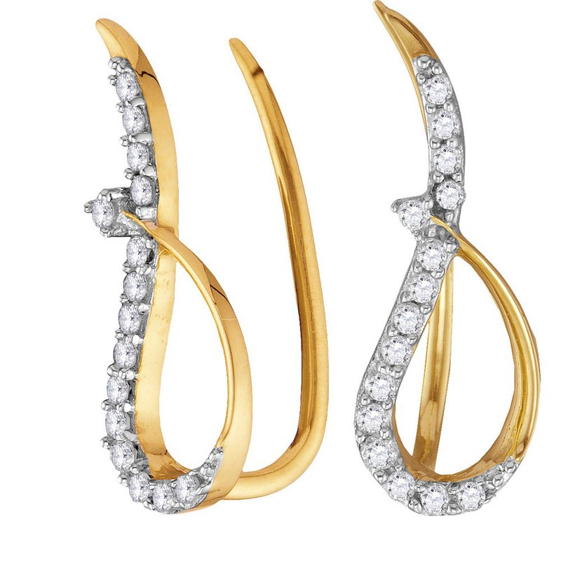 Kingdom Treasures 10kt Yellow Gold Womens Round Diamond Climber Earrings 1/5 Cttw