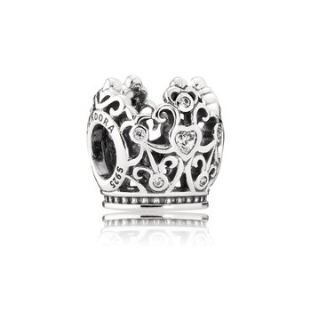 Disney, Princess Crown Charm, Clear Cz