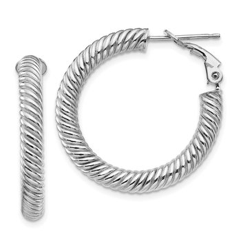10k 4x20 White Gold Twisted Round Omega Back Hoop Earrings