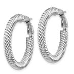 Lester Martin Online Collection 10k 4x20 White Gold Twisted Round Omega Back Hoop Earrings