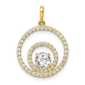 10K Two Circles CZ Pendant