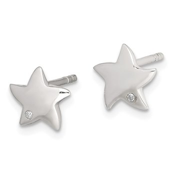 Sterling Silver Diamond Star Post Earrings
